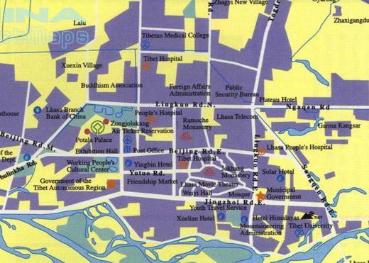 Mapa Monumentos Lhasa Tibete China