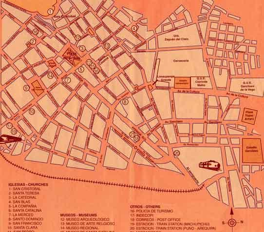 Mapa Monumentos Cusco, Peru