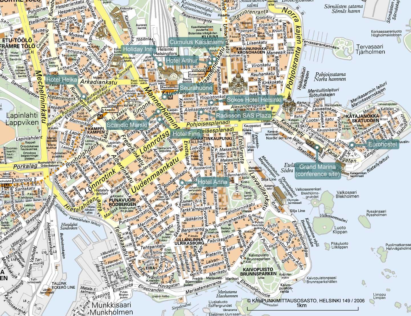 Mapa Monumentos Helsínquia Finlândia 1