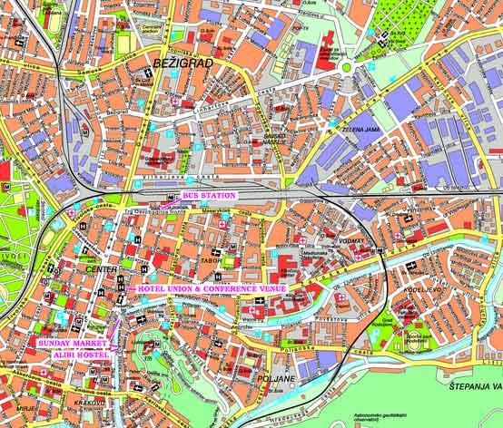 Mapa Monumentos Ljubljana Eslovénia