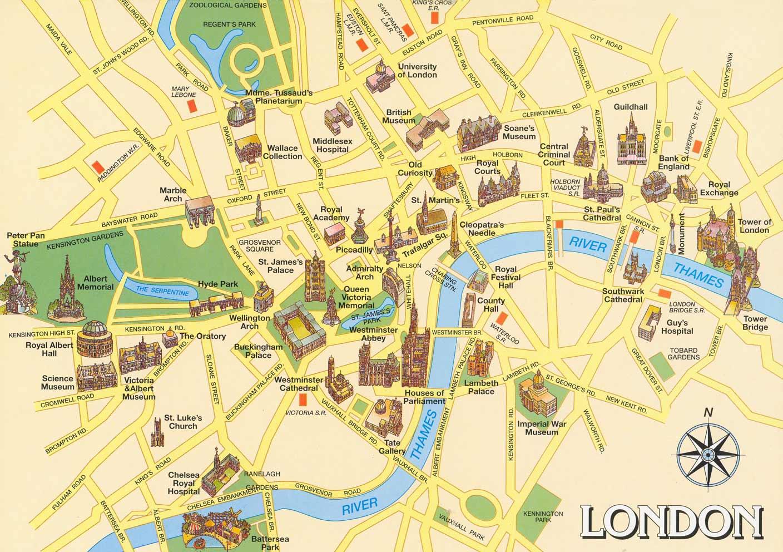 Mapa os monumentos em Londres