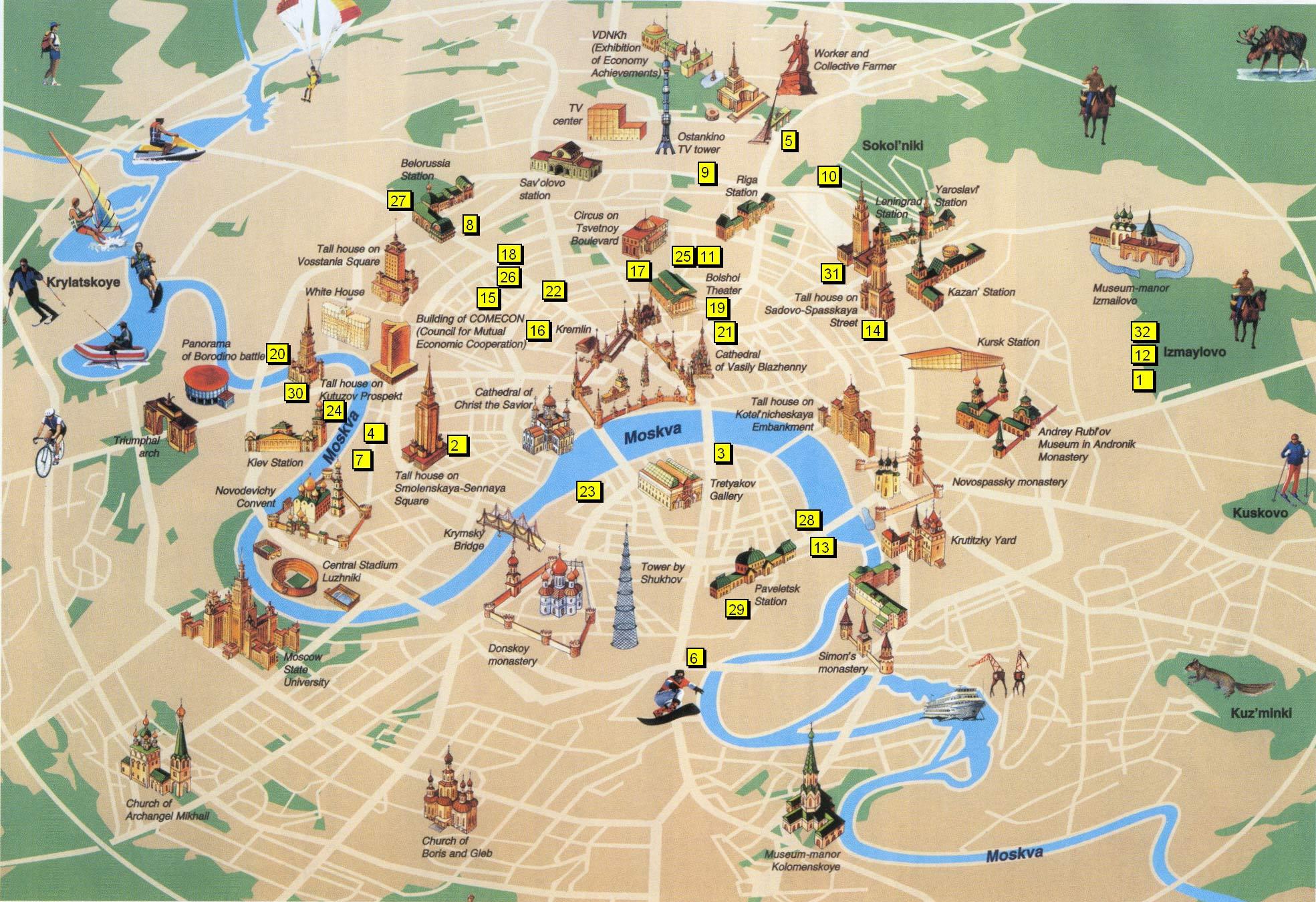 Mapa de Monumentos Moscovo