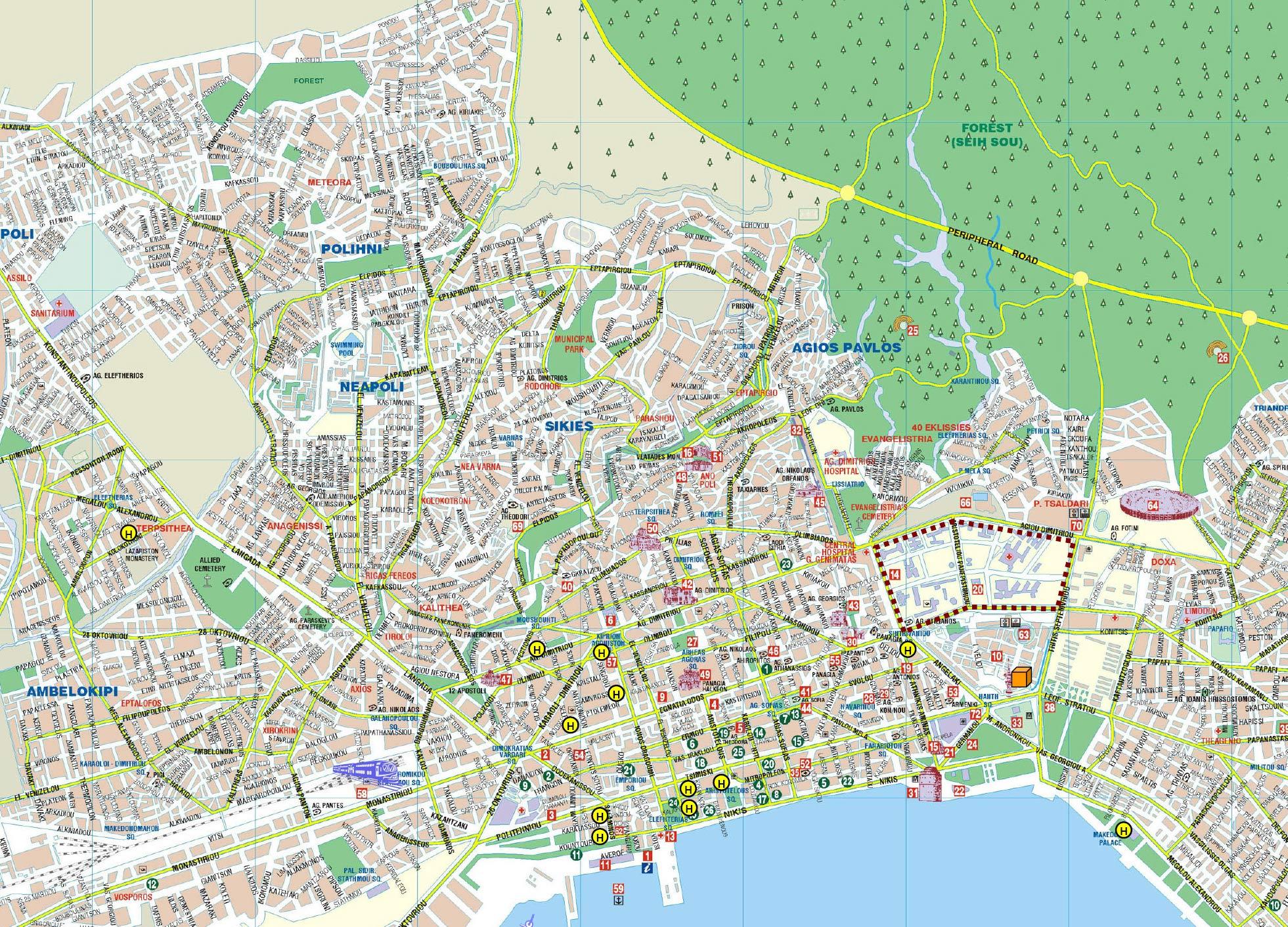 Mapa Monumentos Thessalonikis Grécia 1