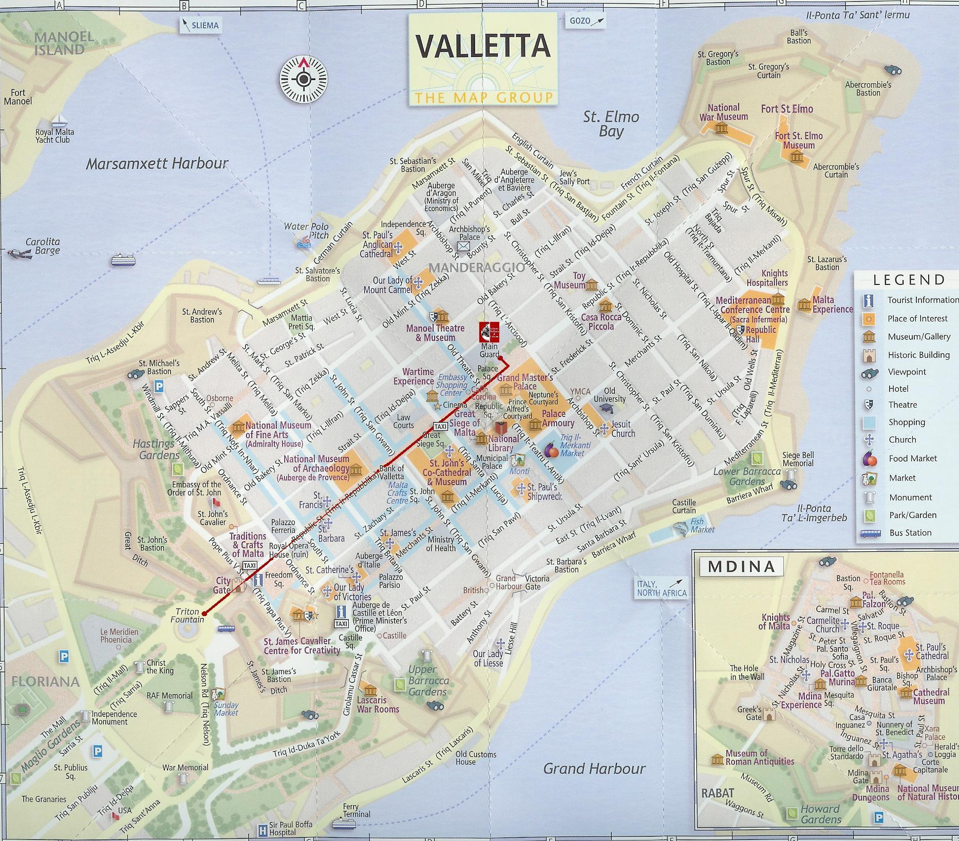 Mapa Monumentos Valeta