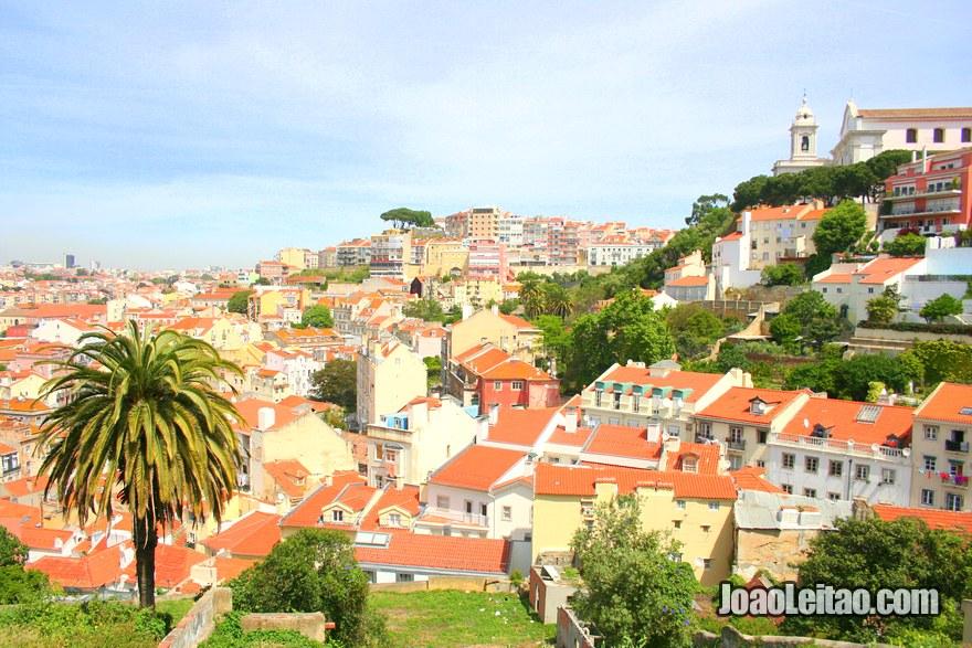 Foto da vista desde o topo do Castelo de São Jorge em Lisboa
