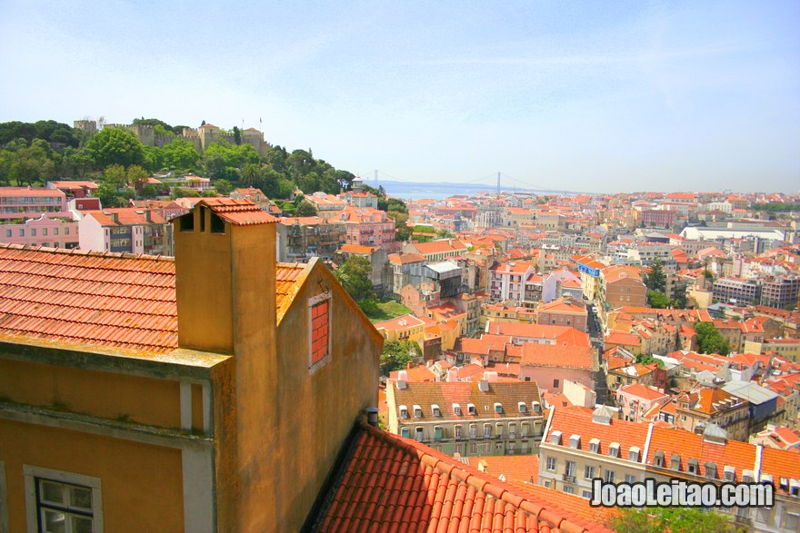 Vista do Castelo desde o Miradouro da Graça, visitar Lisboa