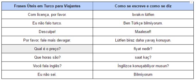 Frases Úteis em Turco para Viajantes (imagem)