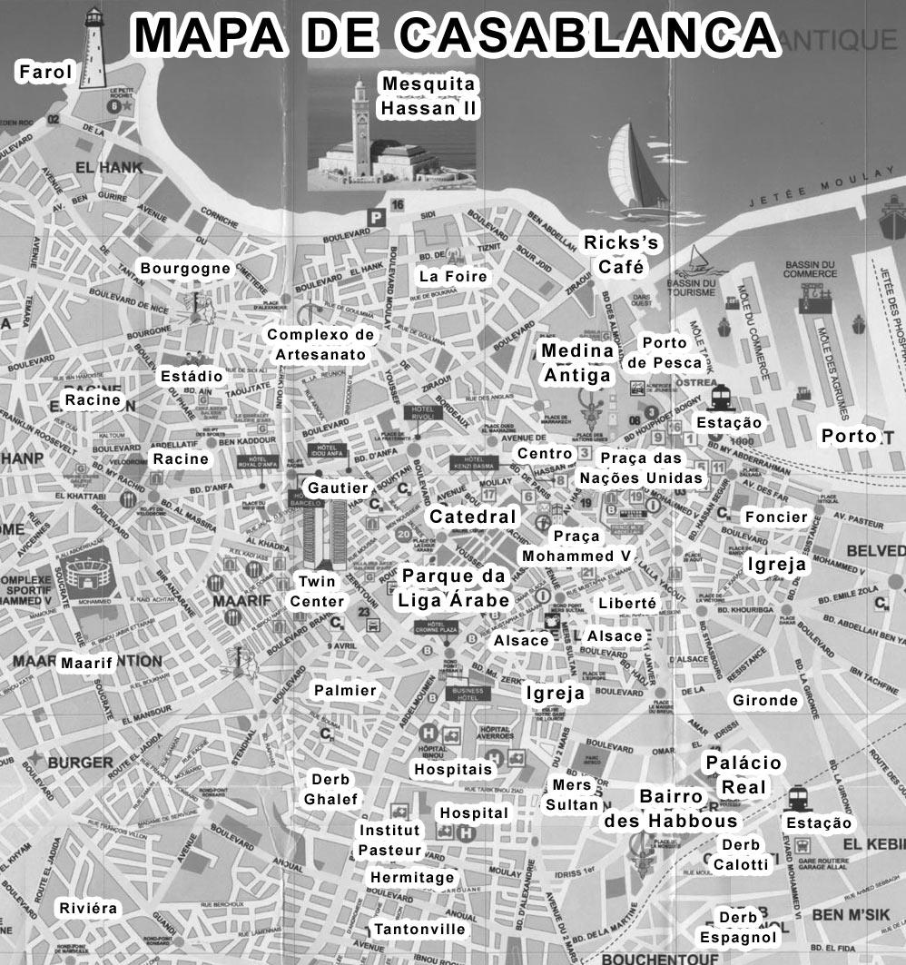 Mapa dos Monumentos de Casablanca