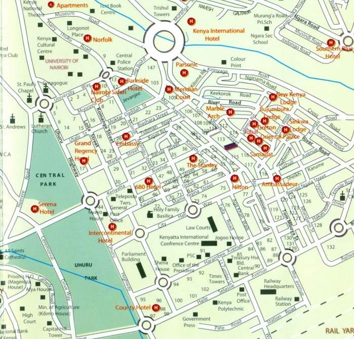 Mapa de Nairobi Quénia