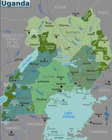 Mapa do Uganda