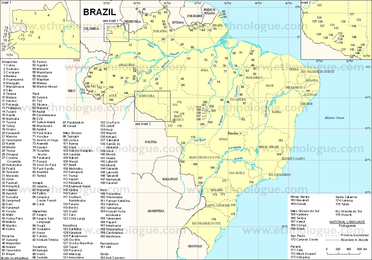 Mapa Idiomas do Brasil