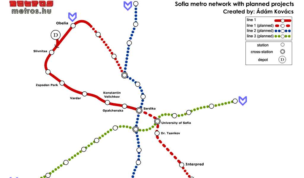 Mapa Metro Sofia 16