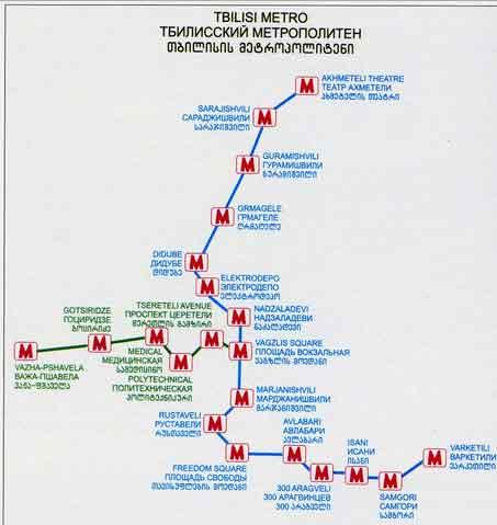 Mapa Metro Tbilisi, Geórgia