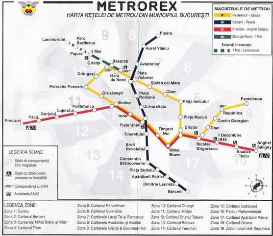 Mapa Metro Bucareste, Roménia