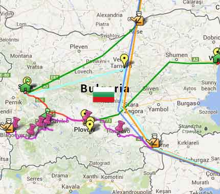Mapa das minhas viagens pela Bulgária 3