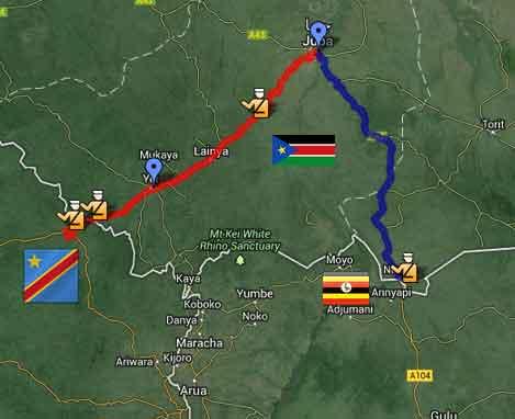 Mapa da minha viagem no Sudão do Sul
