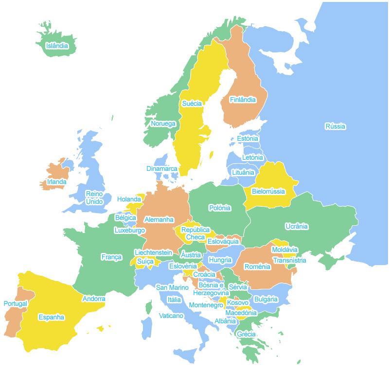 Mapa da Europa com os respectivos nomes dos países em português