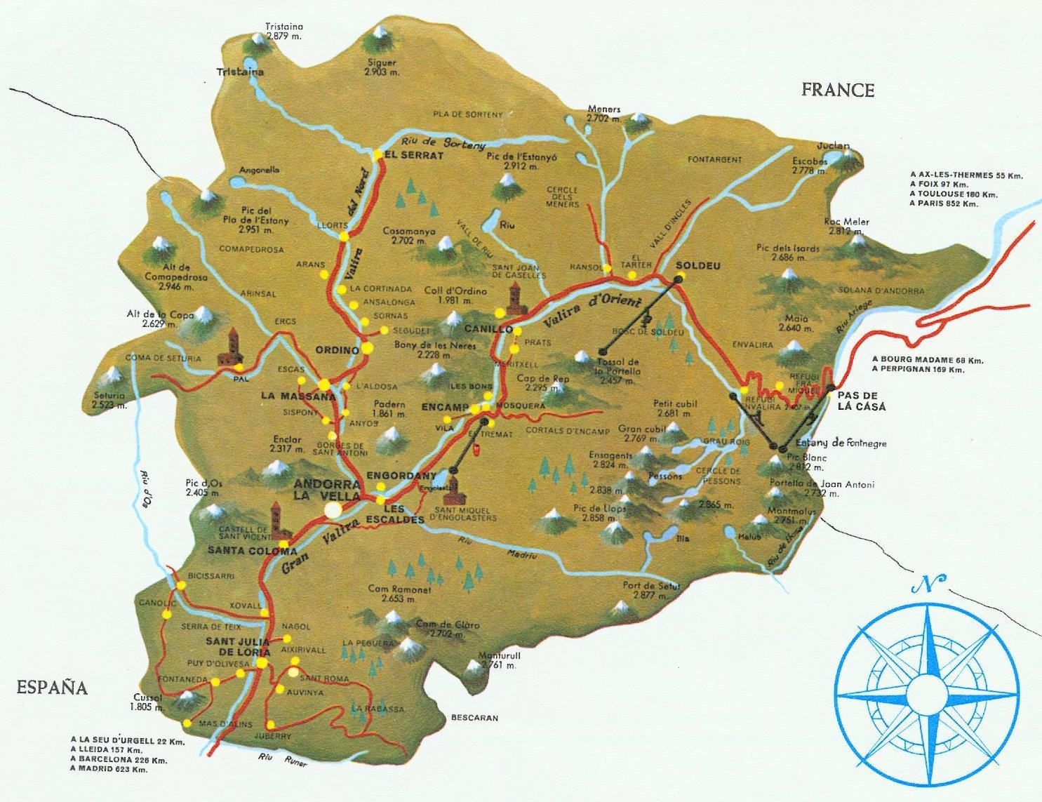 Mapa Geográfico de Andorra