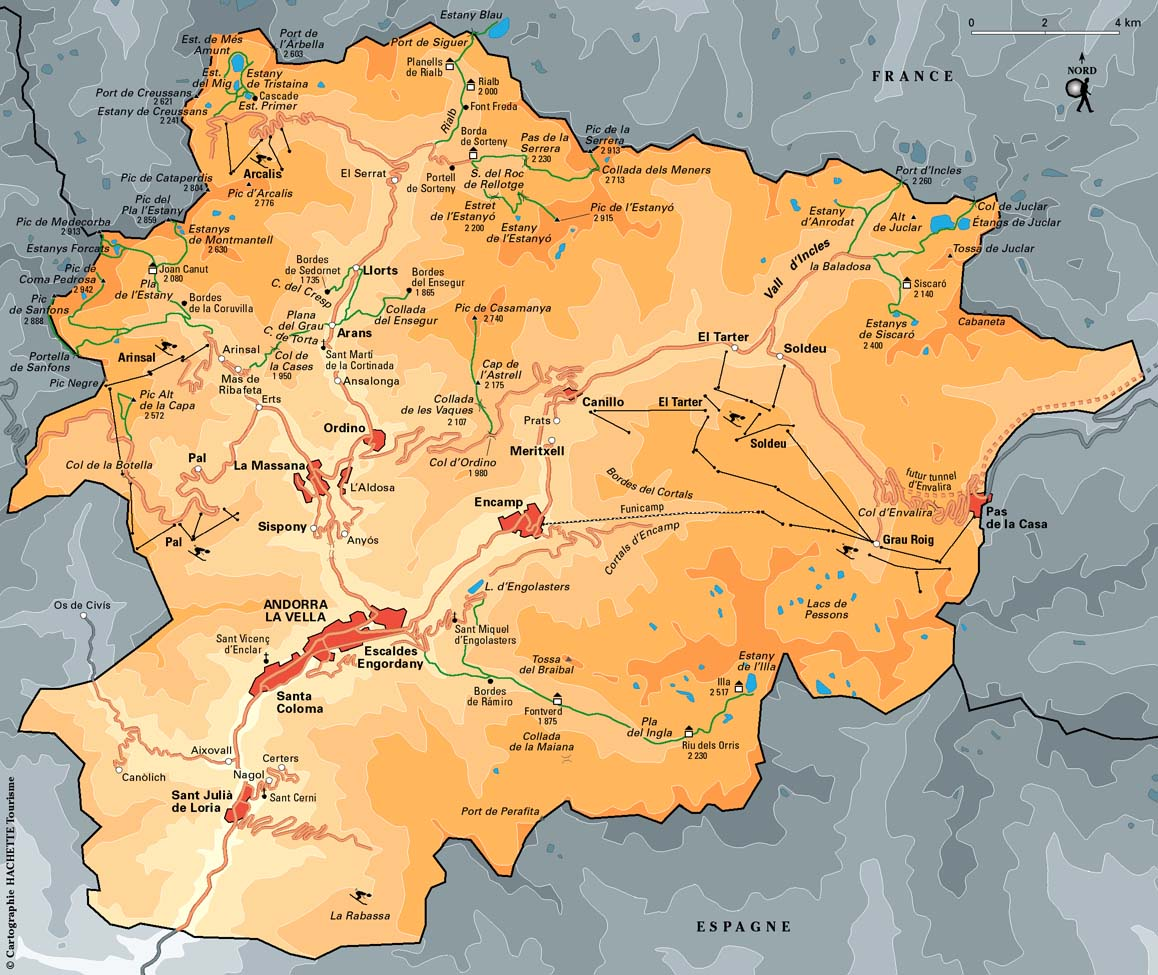 Mapa das Estancias de ski Andorra