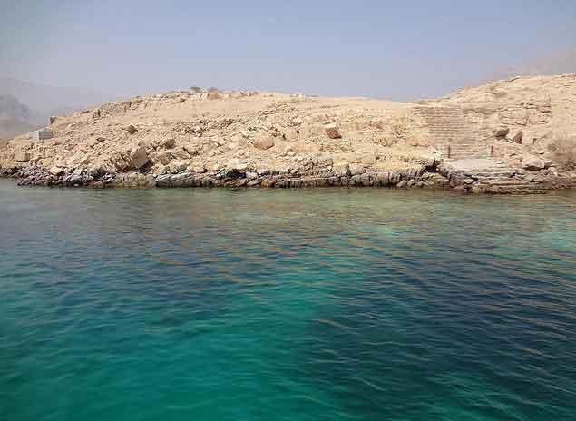 Golfinhos na costa de Khasab em Ras Musandam, Omã