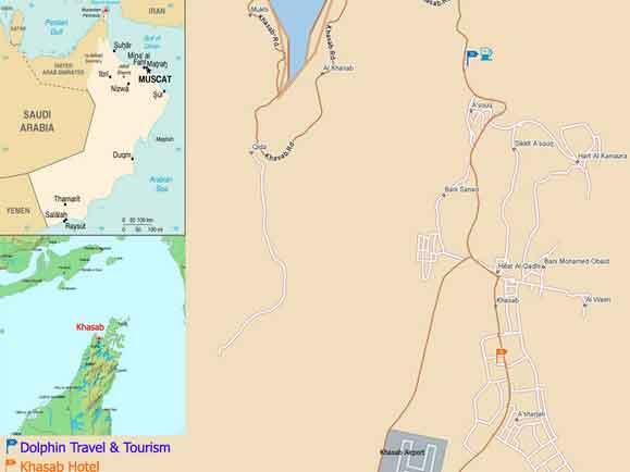 Mapa de Khasab em Ras Musandam, Omã