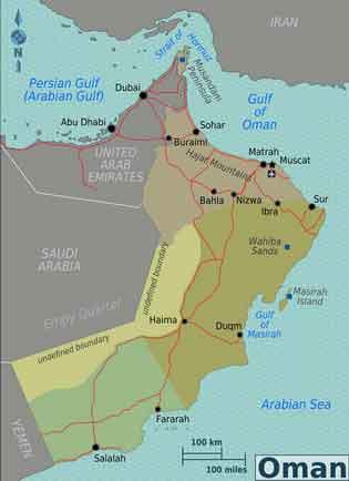 Mapa Regioes Oman