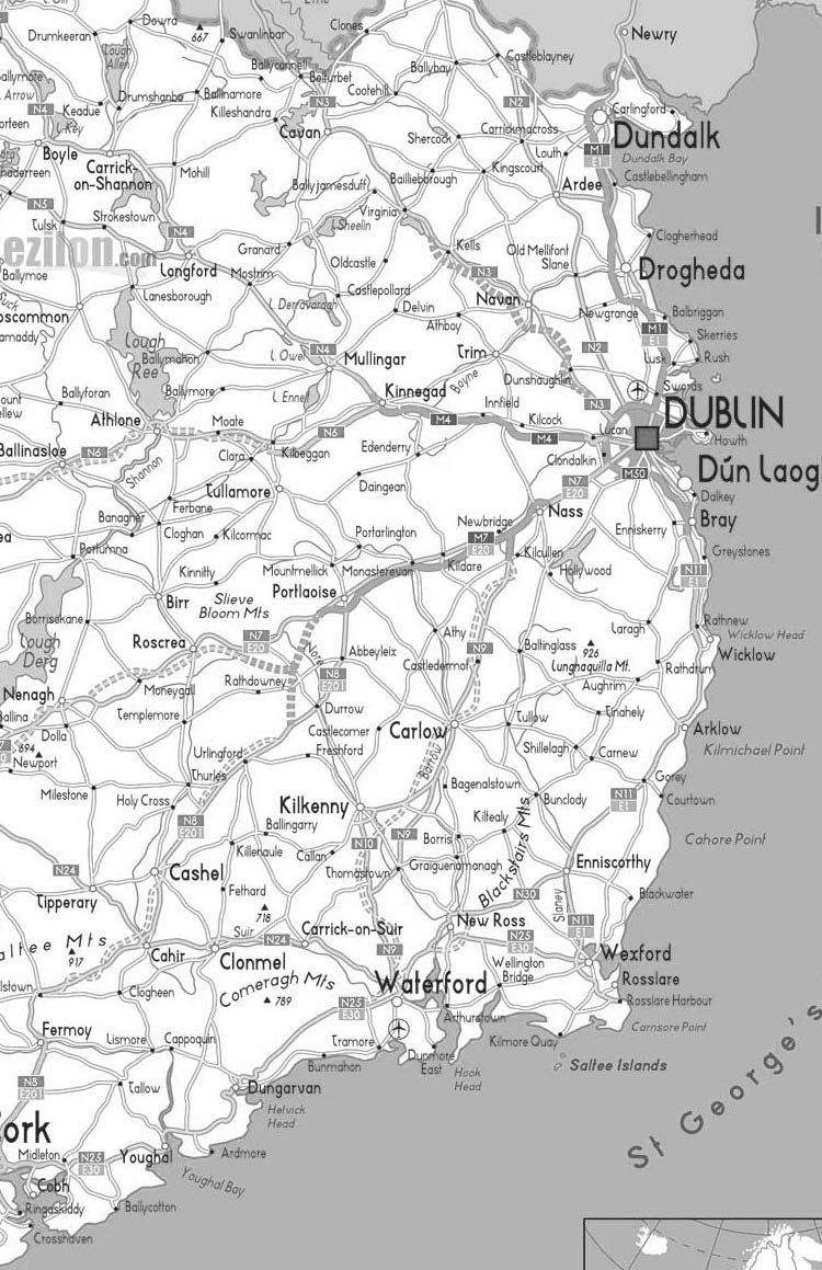 Mapa da Irlanda na zona de Dublin