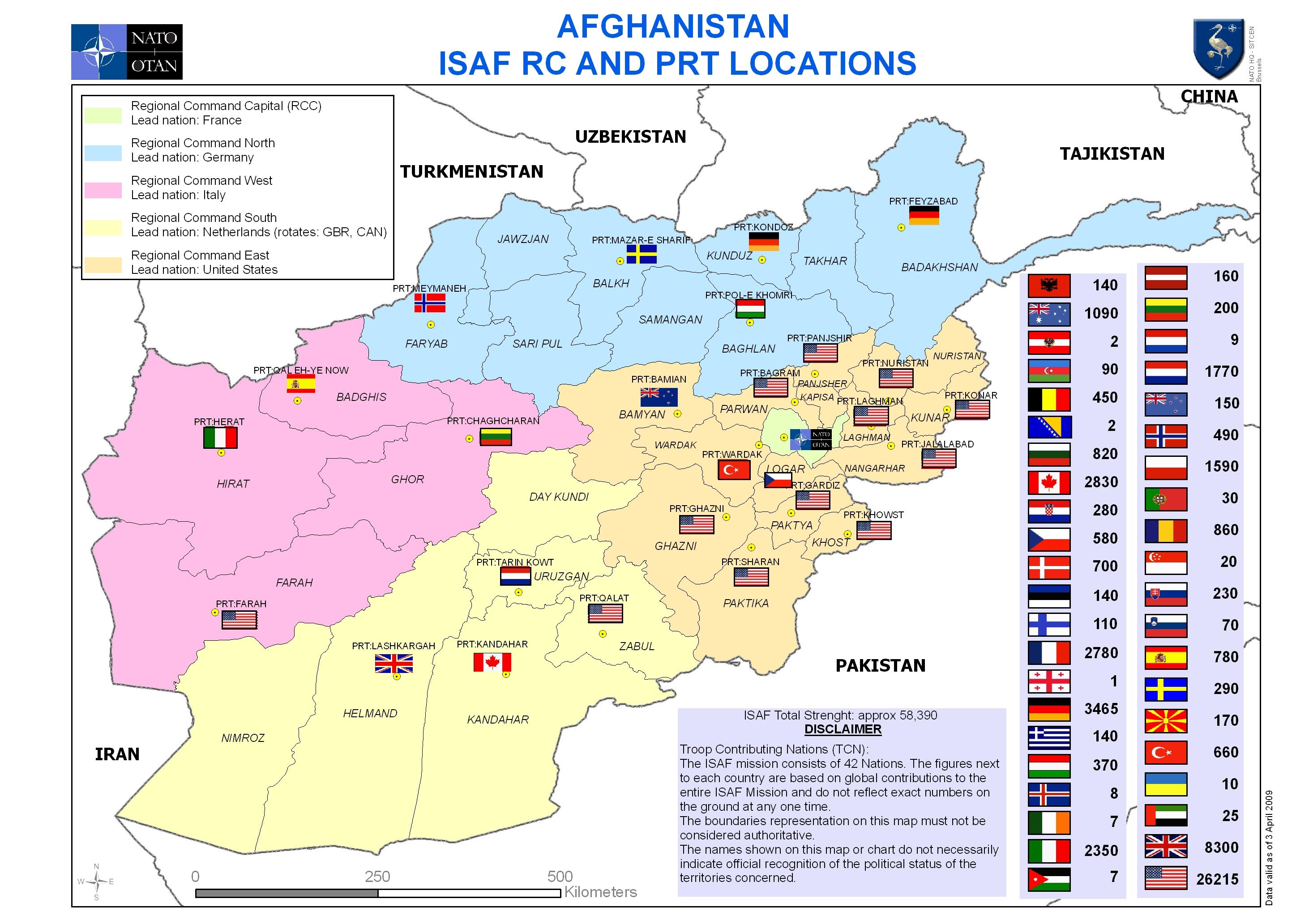 Mapa Distribuicao das Tropas Internacionais no Afeganistao