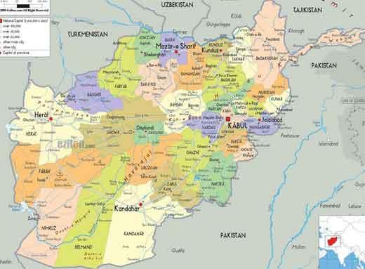 Mapas do Afeganistão - Regiões, Cabul, Etnias, Militar 1