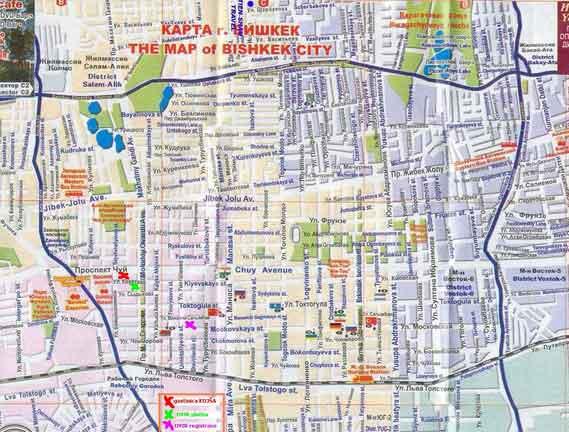 Mapa de Bishkek, Quirguistão