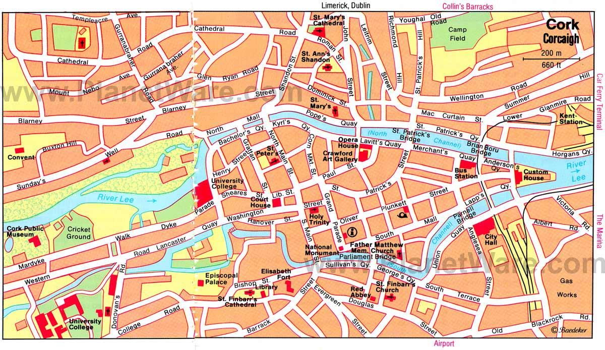 Mapa de Cork, Irlanda