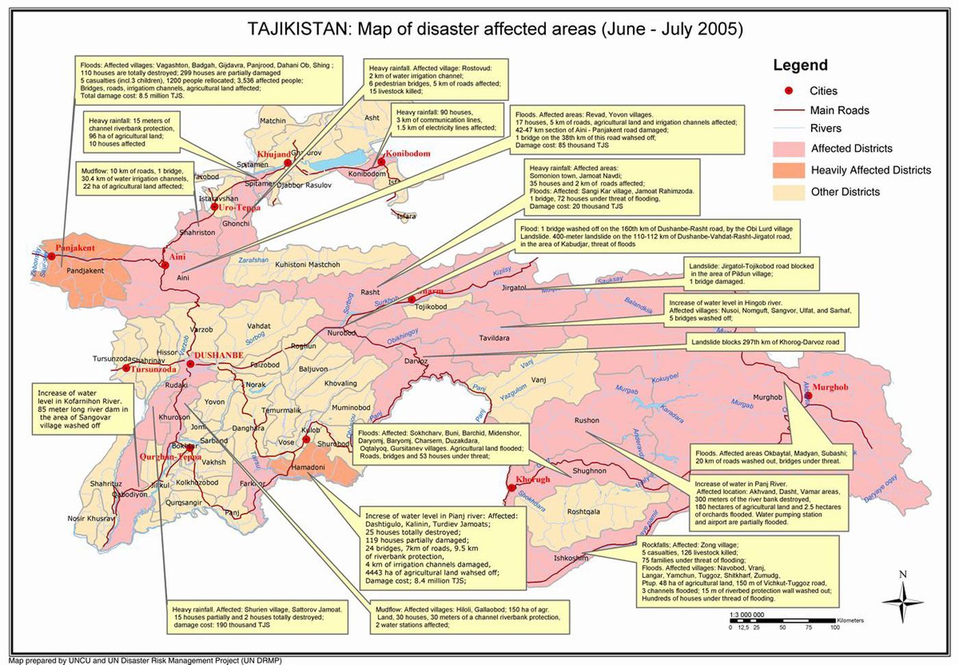 Mapa Zona de Desastres Naturais no Tajiquistão