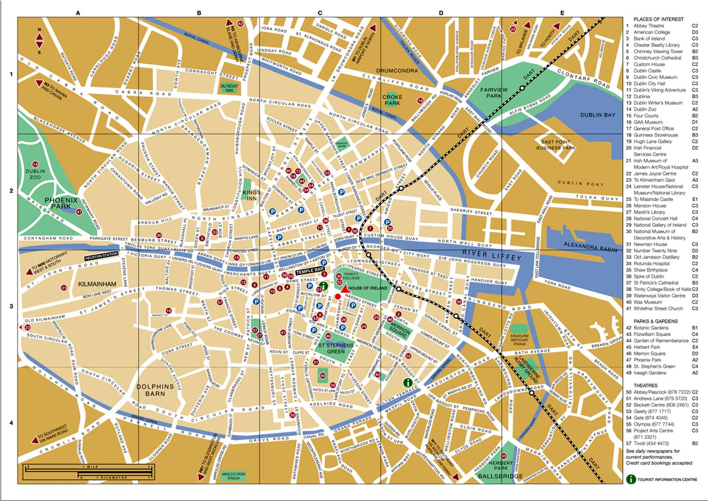 Mapa de Dublin, Irlanda