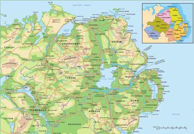 Mapa da Irlanda do Norte