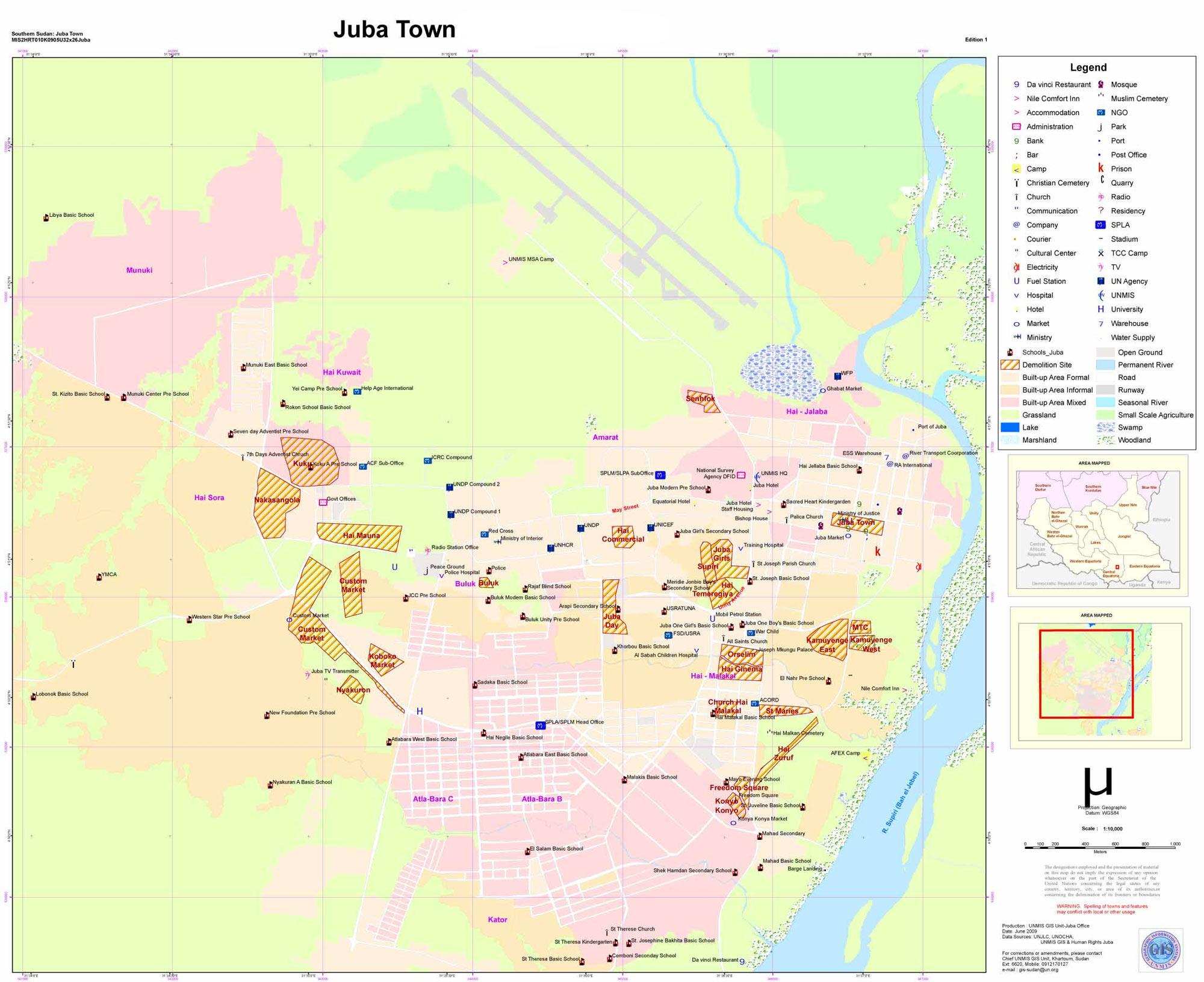 Mapa de Juba, Sudão do Sul