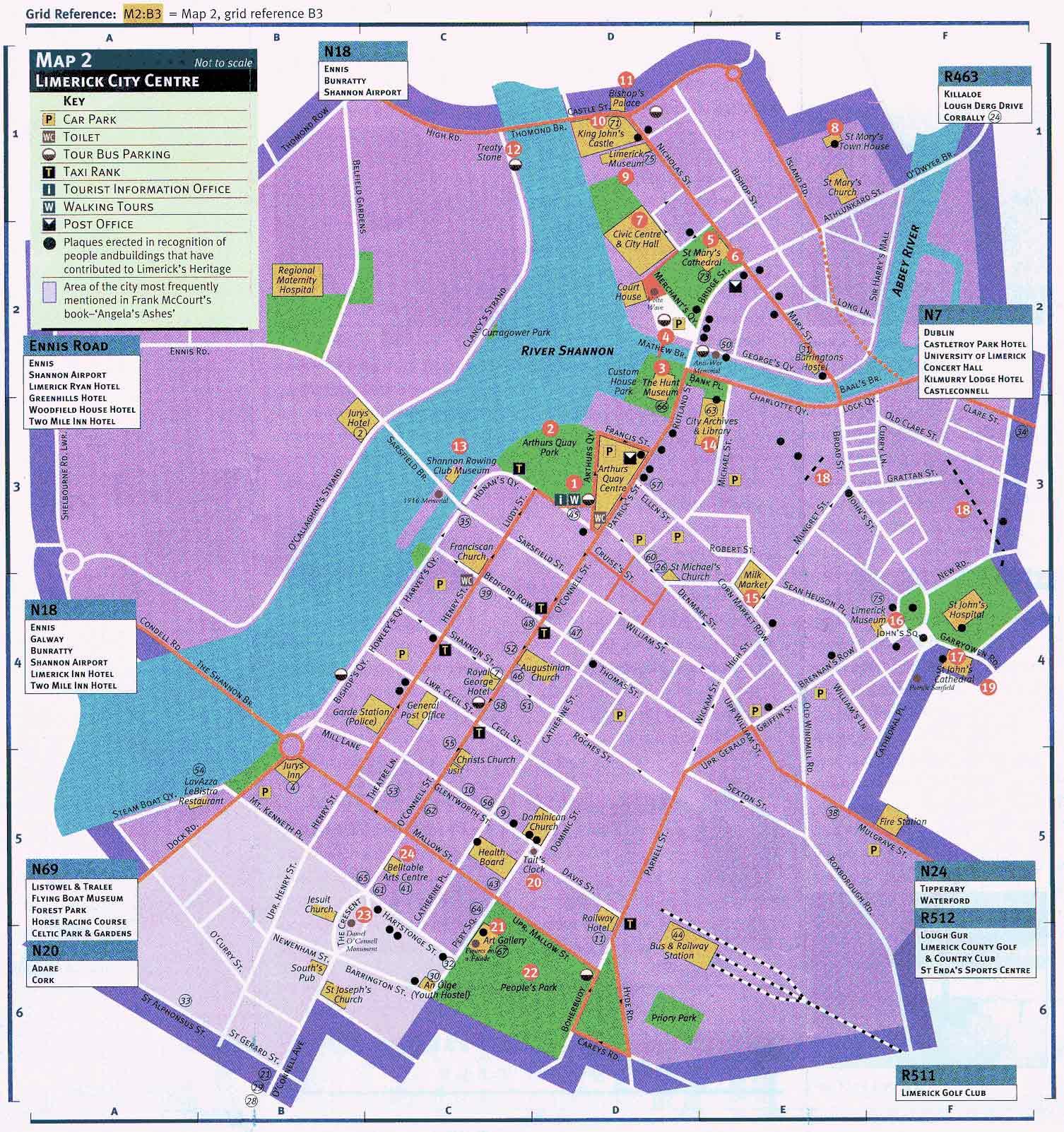 Mapa de Limerick, Irlanda