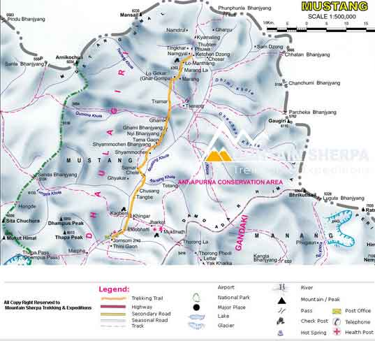 Mapa da região Mustang, Nepal