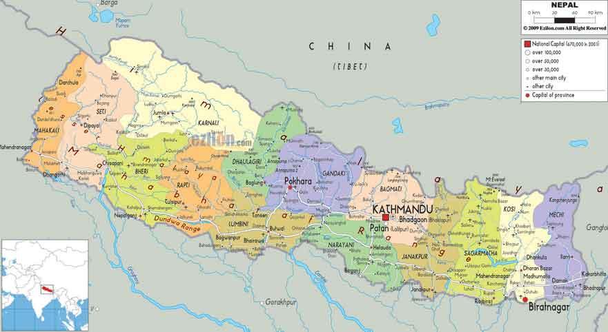 Mapa Político do Nepal