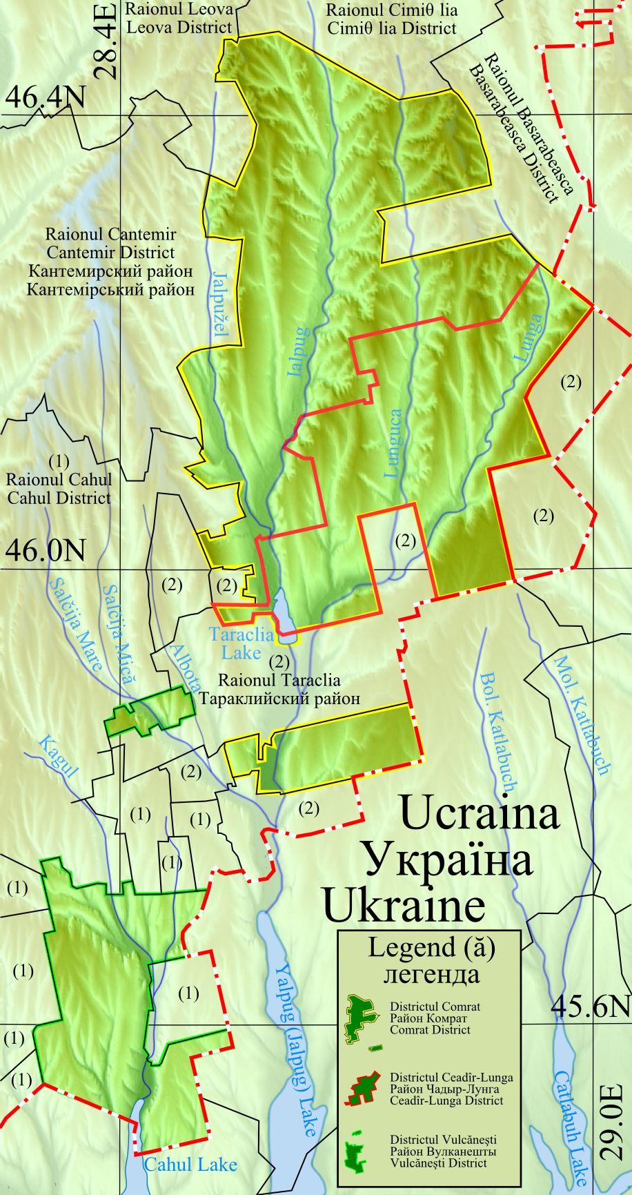 Mapa da Gagaúzia dentro da Moldávia 1