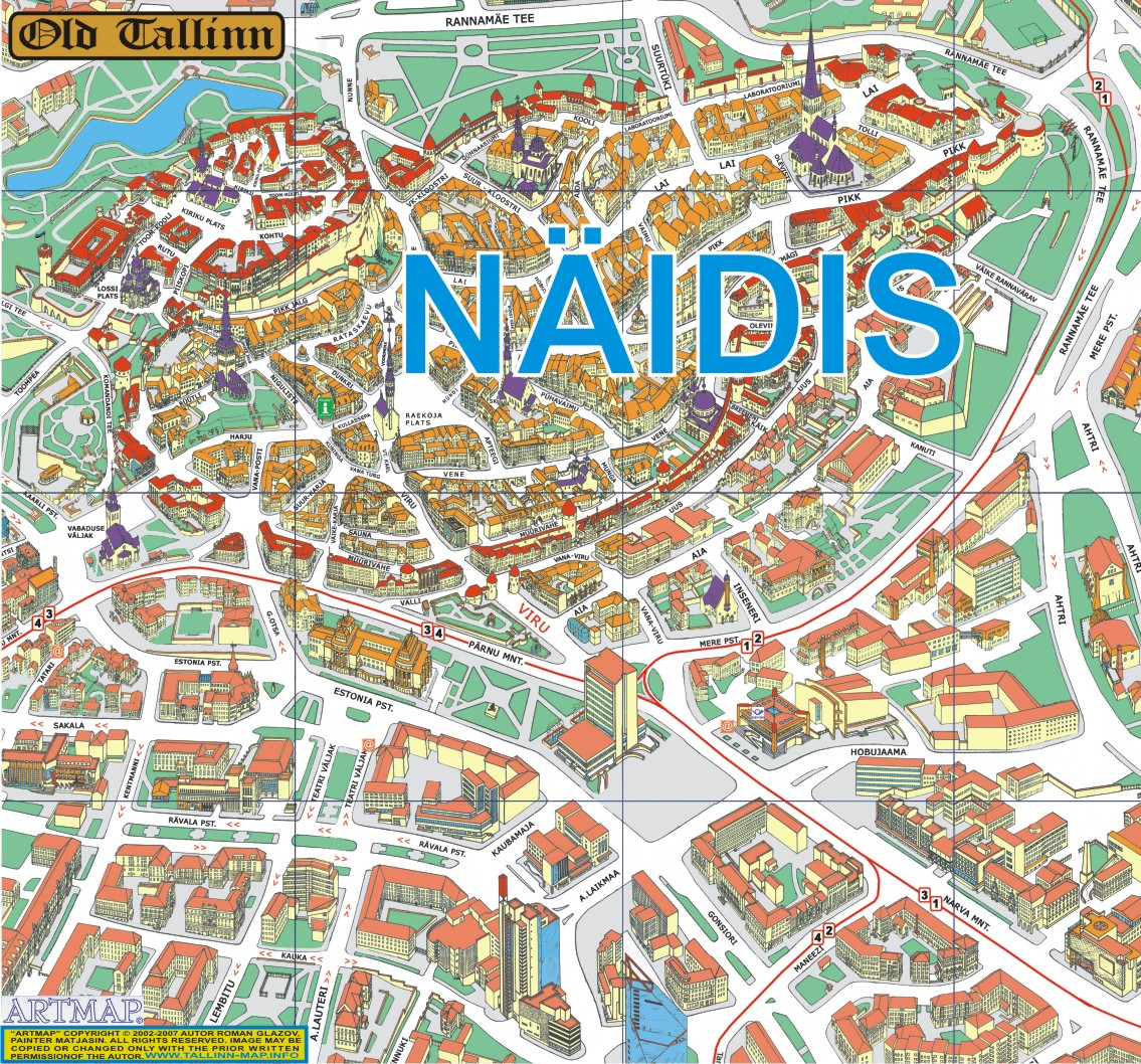 Mapa do Centro de Tallinn, Estónia 2