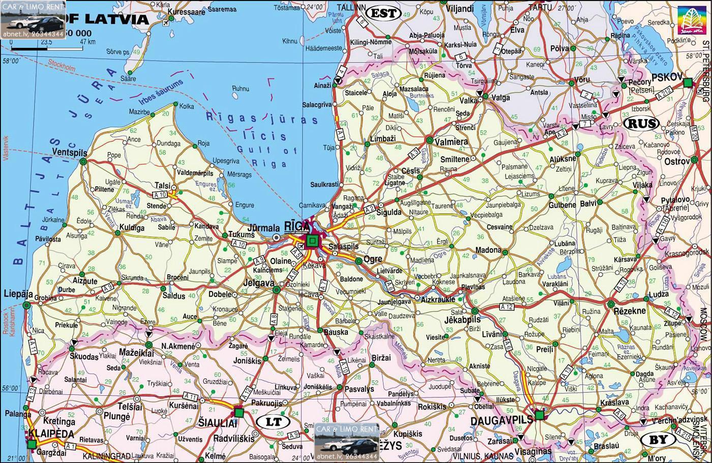 Mapa de Estradas da Letónia 14