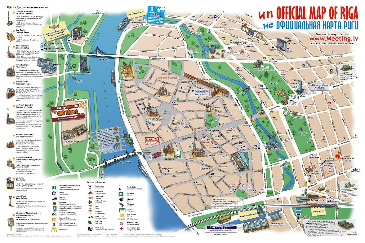 Mapa do Centro Histórico de Riga, Letónia 1