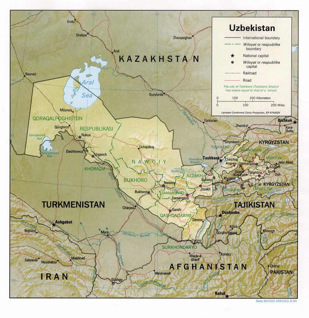 Mapas Grandes do Uzbequistão 1