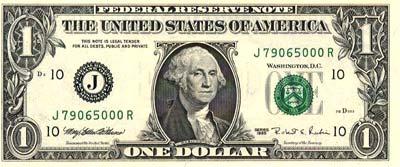 Moeda dos Estados Unidos da América, dinheiro de Dólares americanos 1