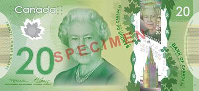 Moeda do Canadá, dinheiro de Dólares canadianos 1