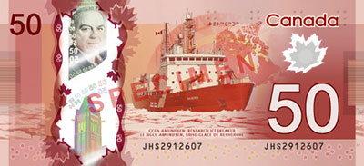 Dinheiro do Canadá, notas de Dólares canadianos