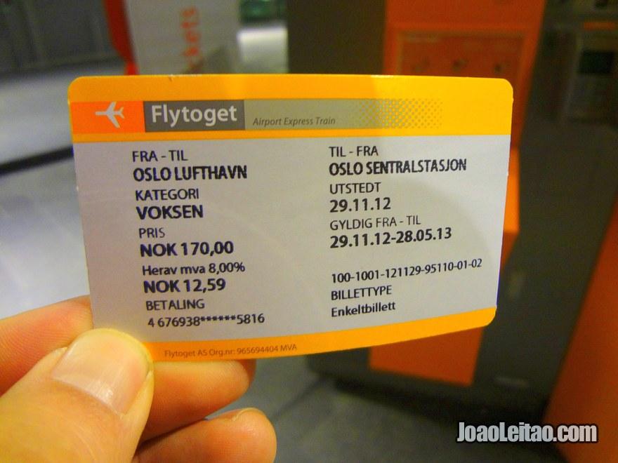Bilhete de comboio até Oslo