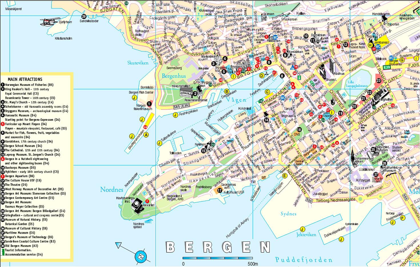 Mapa Bergen, Noruega
