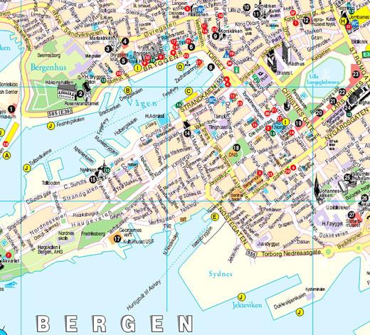 Mapa Turistico de Bergen, Noruega