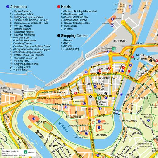 Mapa Turistico de Trondheim, Noruega